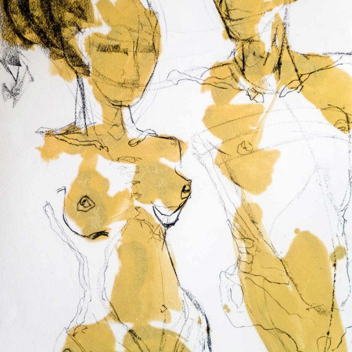 aktzeichnung eines Paars mit Farbe von Monika Kössl