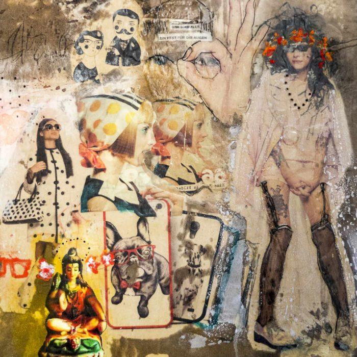 Transfertechnik, Collage von Monika Kössl