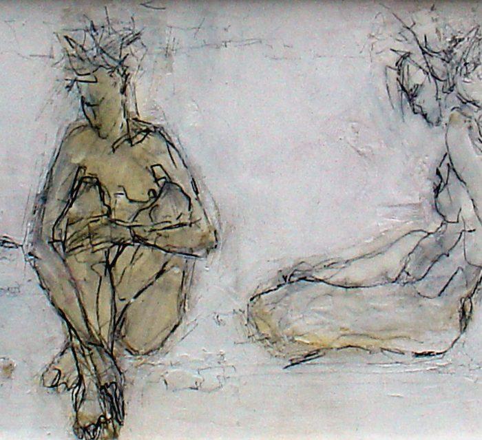 Akt, Materialbil, Wachs, Zeichnung